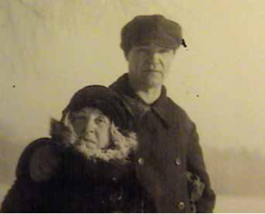 Image of Ekaterine and Pavel Filonov in winter.